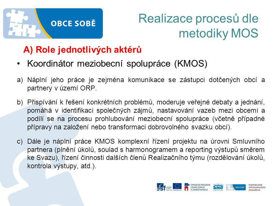 Realizace procesů dle metodiky MOS •Koordinátor meziobecní spolupráce (KMOS) a)Náplní jeho práce je zejména komunikace se zástupci dotčených obcí a pa