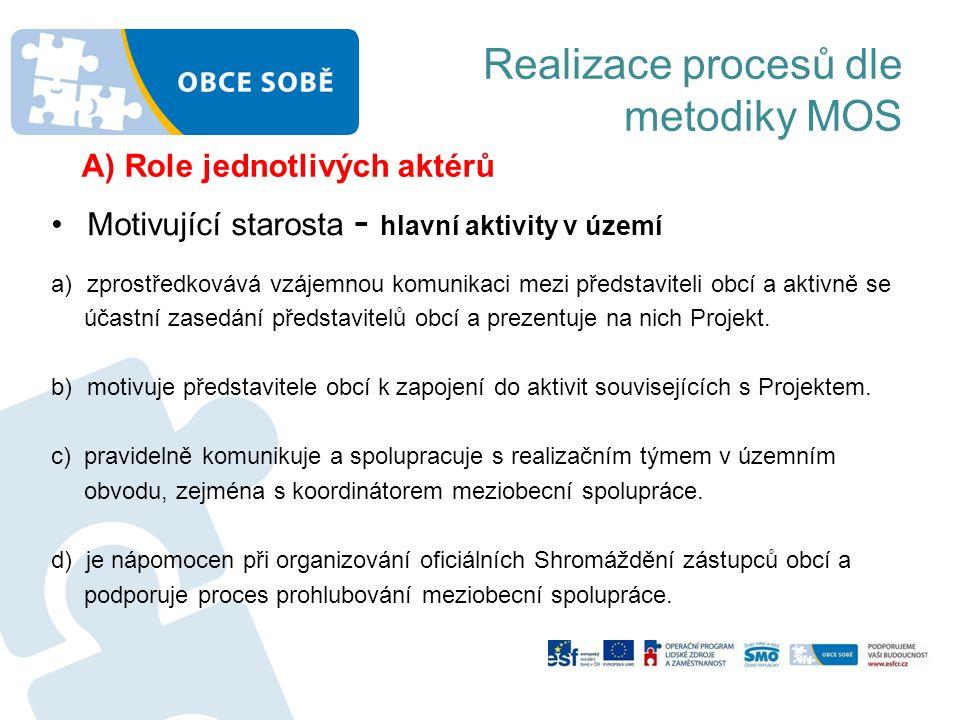 Realizace procesů dle metodiky MOS •Motivující starosta - hlavní aktivity v území a)zprostředkovává vzájemnou komunikaci mezi představiteli obcí a akt