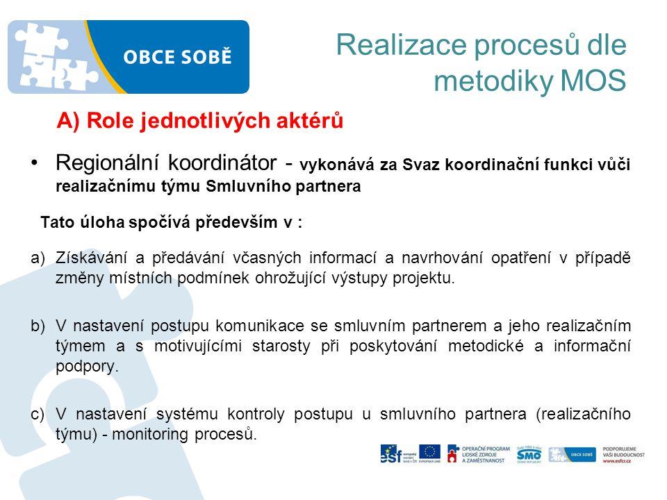 Realizace procesů dle metodiky MOS A) Role jednotlivých aktérů •Regionální koordinátor - vykonává za Svaz koordinační funkci vůči realizačnímu týmu Sm