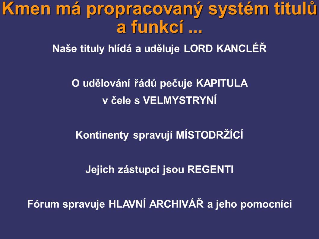 Kmen má propracovaný systém titulů a funkcí... 0 – 100 svobodný pán/svobodná paní 101 - 200 vladyka/ctěná paní 201 - 400 zeman/zemanka 401 - 600 Earl/