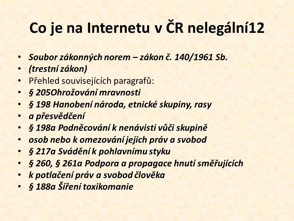 Co je na Internetu v ČR nelegální12 • Soubor zákonných norem – zákon č.