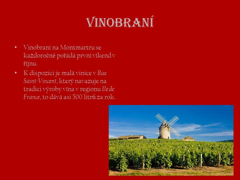 Vinobraní • Vinobraní na Montmartru se každoro č n ě po ř ádá první víkend v ř íjnu. • K dispozici je malá vinice v Rue Saint-Vincent, který navazuje