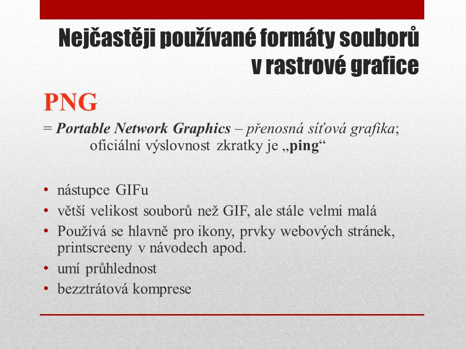 """Nejčastěji používané formáty souborů v rastrové grafice PNG = Portable Network Graphics – přenosná síťová grafika; oficiální výslovnost zkratky je """"pi"""