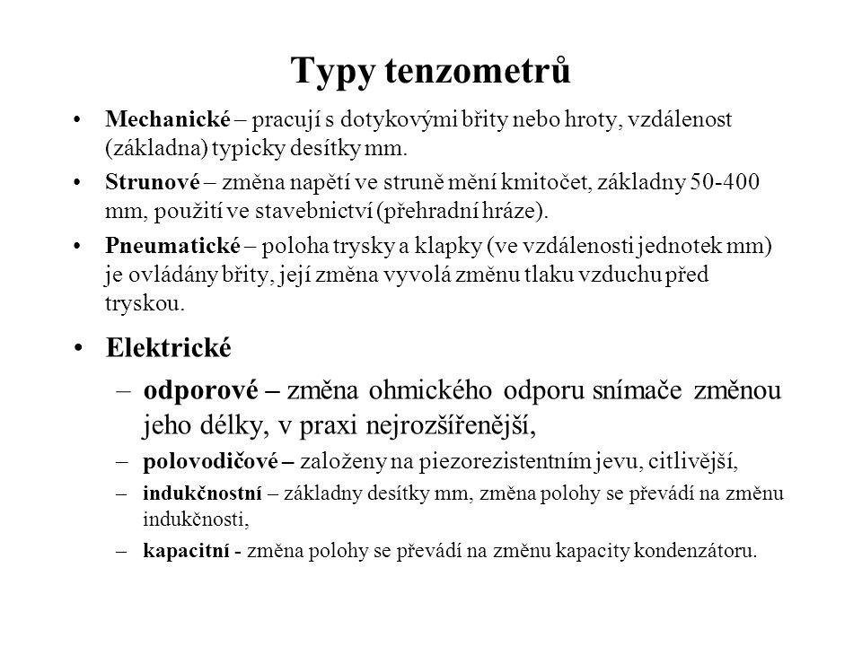 Typy tenzometrů •Mechanické – pracují s dotykovými břity nebo hroty, vzdálenost (základna) typicky desítky mm.