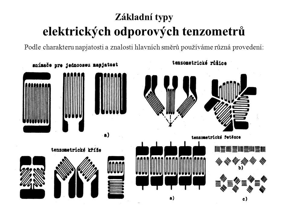 Základní typy elektrických odporových tenzometrů Podle charakteru napjatosti a znalosti hlavních směrů používáme různá provedení: