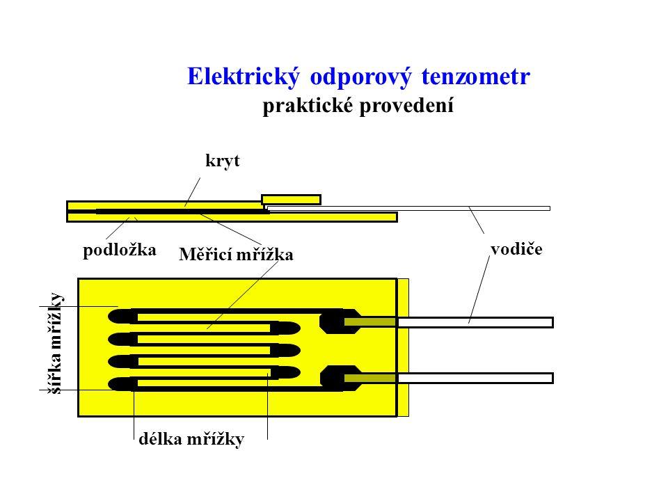 vodiče kryt Měřicí mřížka délka mřížky podložka šířka mřížky Elektrický odporový tenzometr praktické provedení