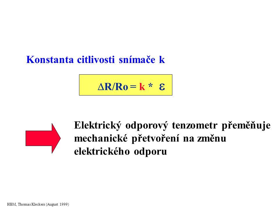 HBM, Thomas Kleckers (August 1999) Konstanta citlivosti snímače k  R/Ro = k   R/Ro = k *  Elektrický odporový tenzometr přeměňuje mechanické přetvoření na změnu elektrického odporu