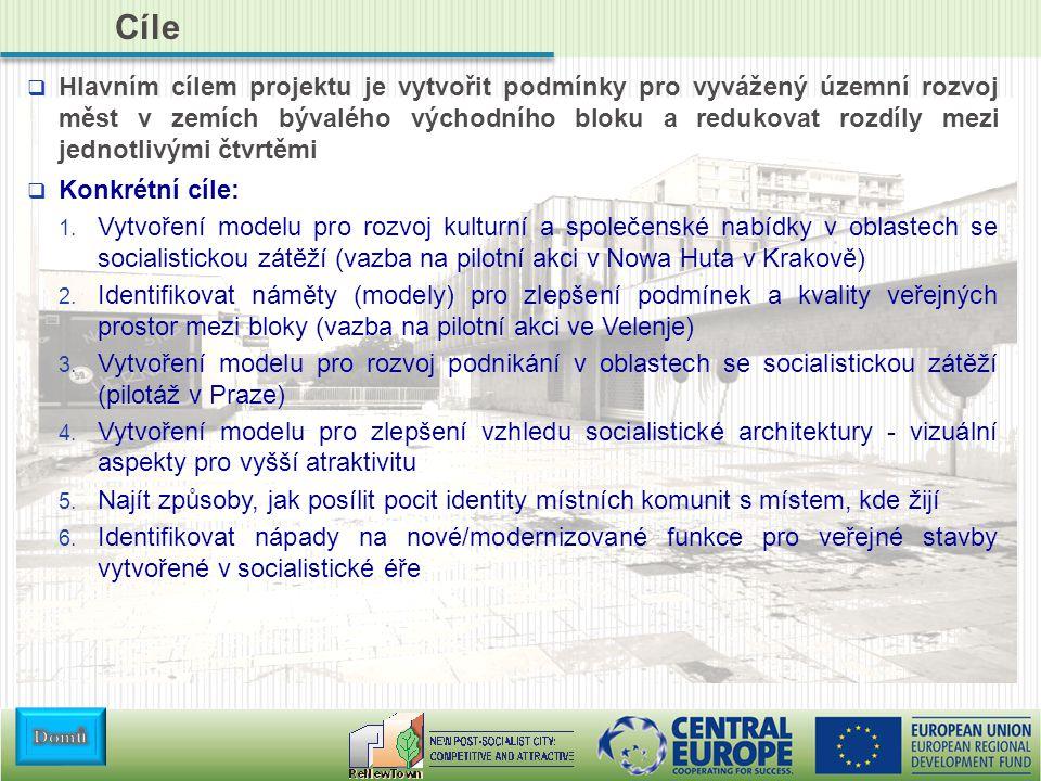 Cíle  Hlavním cílem projektu je vytvořit podmínky pro vyvážený územní rozvoj měst v zemích bývalého východního bloku a redukovat rozdíly mezi jednotlivými čtvrtěmi  Konkrétní cíle: 1.