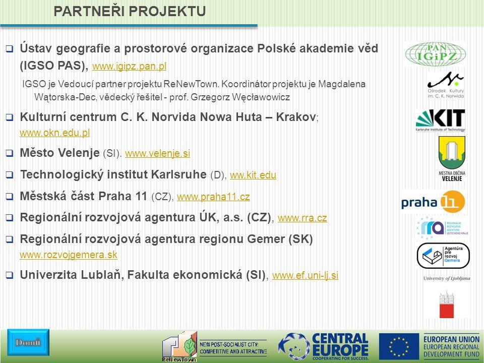 PARTNEŘI PROJEKTU  Ústav geografie a prostorové organizace Polské akademie věd (IGSO PAS), www.igipz.pan.pl www.igipz.pan.pl IGSO je Vedoucí partner projektu ReNewTown.