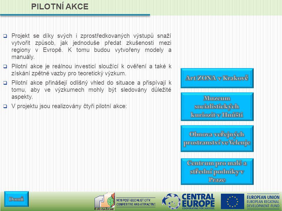 PILOTNÍ AKCE  Projekt se díky svých i zprostředkovaných výstupů snaží vytvořit způsob, jak jednoduše předat zkušenosti mezi regiony v Evropě.