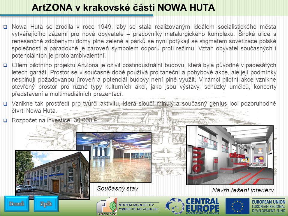 ArtZONA v krakovské části NOWA HUTA  Nowa Huta se zrodila v roce 1949, aby se stala realizovaným ideálem socialistického města vytvářejícího zázemí pro nové obyvatele – pracovníky metalurgického komplexu.