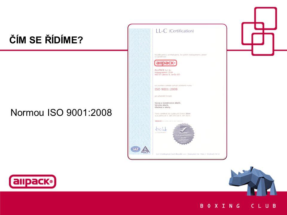 ČÍM SE ŘÍDÍME? Normou ISO 9001:2008