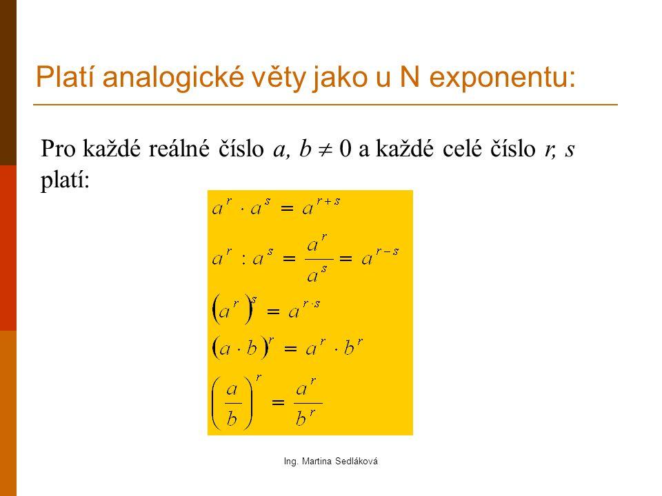 Pro každé reálné číslo a, b  0 a každé celé číslo r, s platí: Platí analogické věty jako u N exponentu: Ing.
