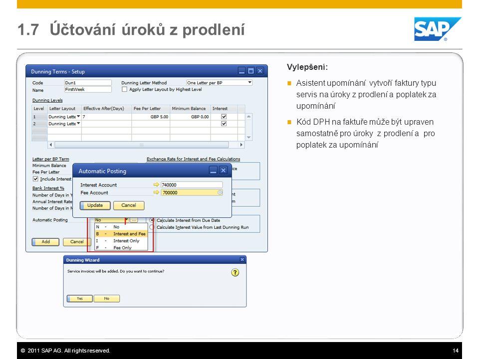 ©2011 SAP AG. All rights reserved.14 1.7 Účtování úroků z prodlení Vylepšení:  Asistent upomínání vytvoří faktury typu servis na úroky z prodlení a p