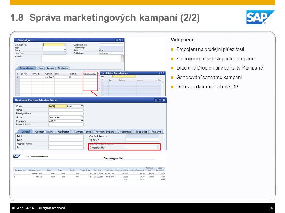©2011 SAP AG. All rights reserved.16 1.8 Správa marketingových kampaní (2/2) Vylepšení:  Propojení na prodejní příležitosti  Sledování příležitostí