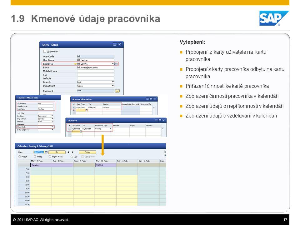 ©2011 SAP AG. All rights reserved.17 1.9 Kmenové údaje pracovníka Vylepšení:  Propojení z karty uživatele na kartu pracovníka  Propojení z karty pra
