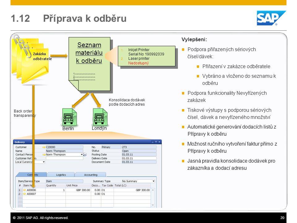 ©2011 SAP AG. All rights reserved.20 1.12 Příprava k odběru Vylepšení:  Podpora přiřazených sériových čísel/dávek:  Přiřazení v zakázce odběratele 