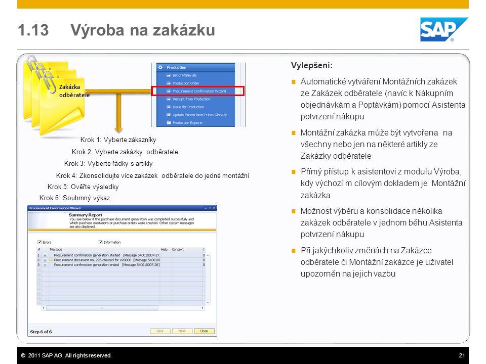 ©2011 SAP AG. All rights reserved.21 1.13 Výroba na zakázku Vylepšení:  Automatické vytváření Montážních zakázek ze Zakázek odběratele (navíc k Nákup
