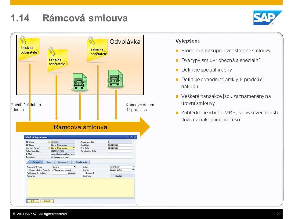 ©2011 SAP AG. All rights reserved.22 1.14 Rámcová smlouva Vylepšení:  Prodejní a nákupní dvoustranné smlouvy  Dva typy smluv : obecná a speciální 