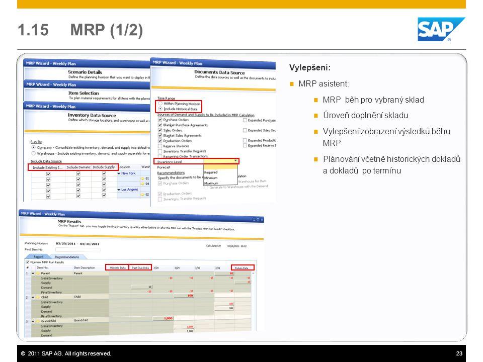 ©2011 SAP AG. All rights reserved.23 1.15 MRP (1/2) Vylepšení:  MRP asistent:  MRP běh pro vybraný sklad  Úroveň doplnění skladu  Vylepšení zobraz