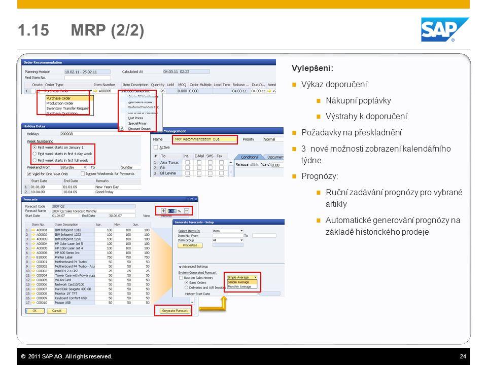 ©2011 SAP AG. All rights reserved.24 Vylepšení:  Výkaz doporučení:  Nákupní poptávky  Výstrahy k doporučení  Požadavky na přeskladnění  3 nové mo