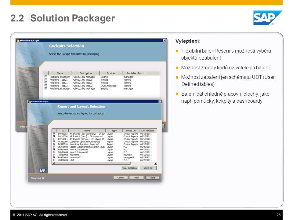 ©2011 SAP AG. All rights reserved.26 2.2 Solution Packager Vylepšení:  Flexibilní balení řešení s možností výběru objektů k zabalení  Možnost změny
