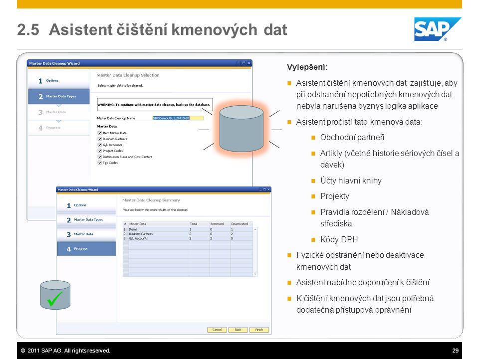 ©2011 SAP AG. All rights reserved.29 2.5 Asistent čištění kmenových dat Vylepšení:  Asistent čištění kmenových dat zajišťuje, aby při odstranění nepo
