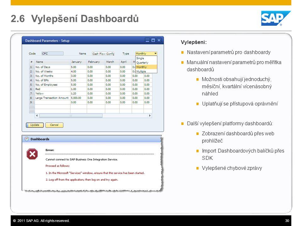 ©2011 SAP AG. All rights reserved.30 2.6 Vylepšení Dashboardů Vylepšení:  Nastavení parametrů pro dashboardy  Manuální nastavení parametrů pro měřít