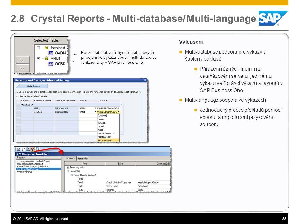 ©2011 SAP AG. All rights reserved.33 2.8 Crystal Reports - Multi-database/ Multi-language Vylepšení:  Multi-database podpora pro výkazy a šablony dok
