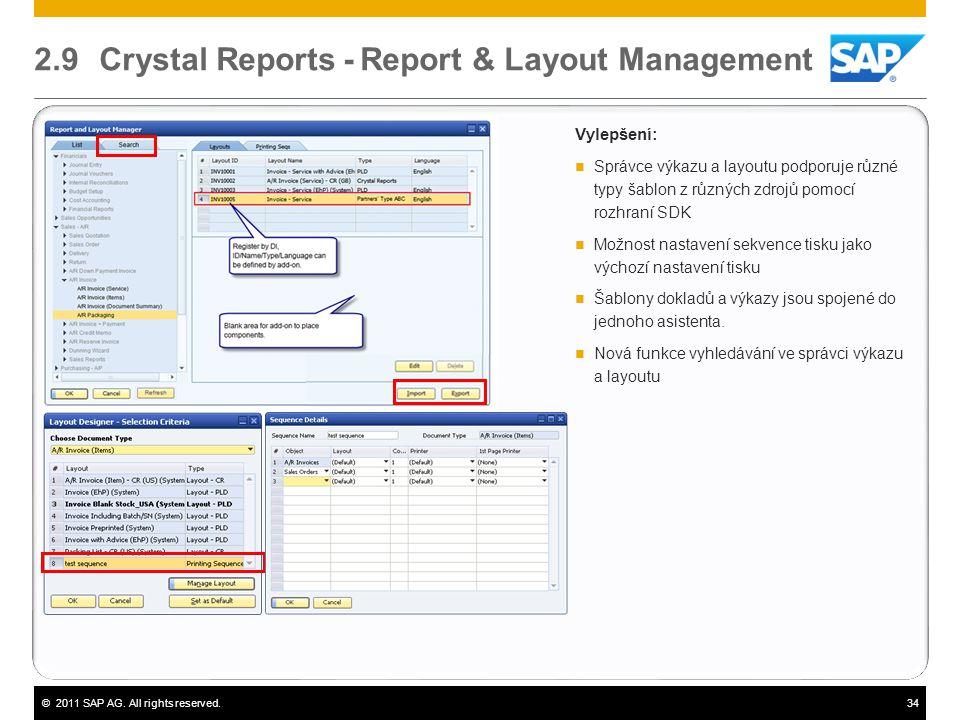 ©2011 SAP AG. All rights reserved.34 2.9 Crystal Reports - Report & Layout Management Vylepšení:  Správce výkazu a layoutu podporuje různé typy šablo