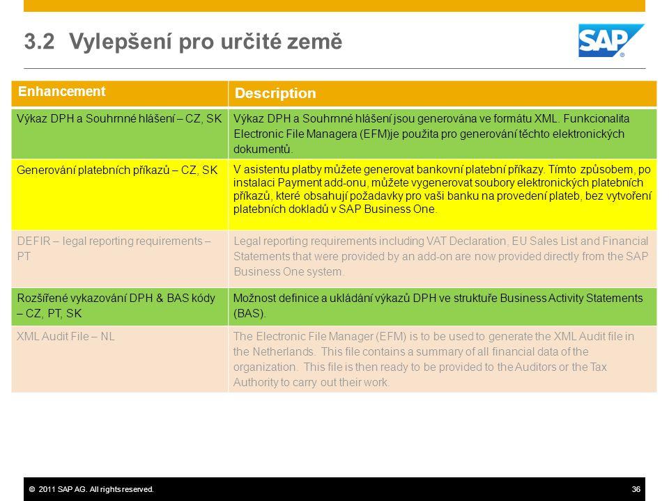 ©2011 SAP AG. All rights reserved.36 Enhancement Description Výkaz DPH a Souhrnné hlášení – CZ, SK Výkaz DPH a Souhrnné hlášení jsou generována ve for