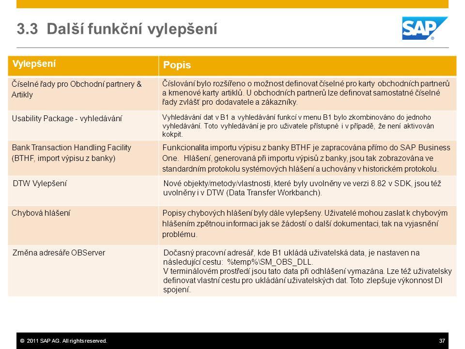 ©2011 SAP AG. All rights reserved.37 Vylepšení Popis Číselné řady pro Obchodní partnery & Artikly Číslování bylo rozšířeno o možnost definovat číselné