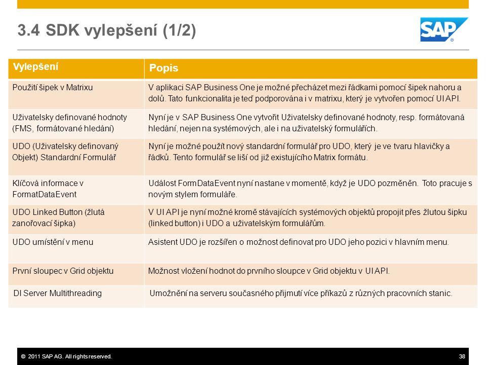 ©2011 SAP AG. All rights reserved.38 Vylepšení Popis Použití šipek v Matrixu V aplikaci SAP Business One je možné přecházet mezi řádkami pomocí šipek