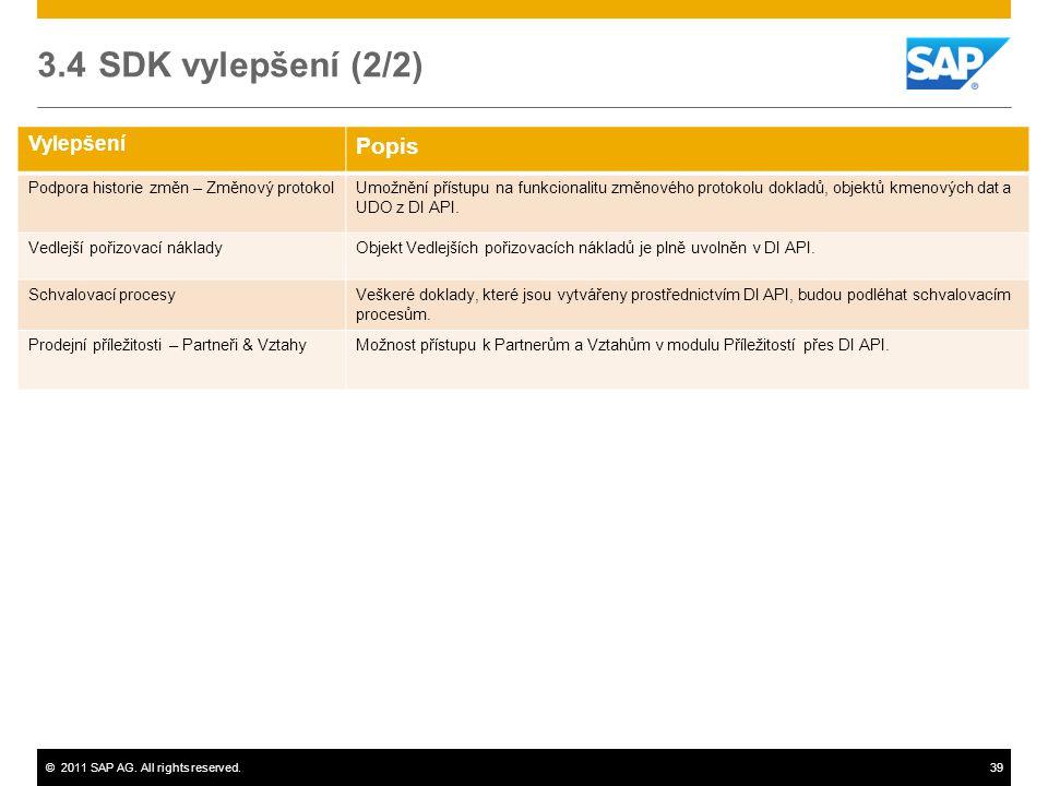 ©2011 SAP AG. All rights reserved.39 Vylepšení Popis Podpora historie změn – Změnový protokolUmožnění přístupu na funkcionalitu změnového protokolu do