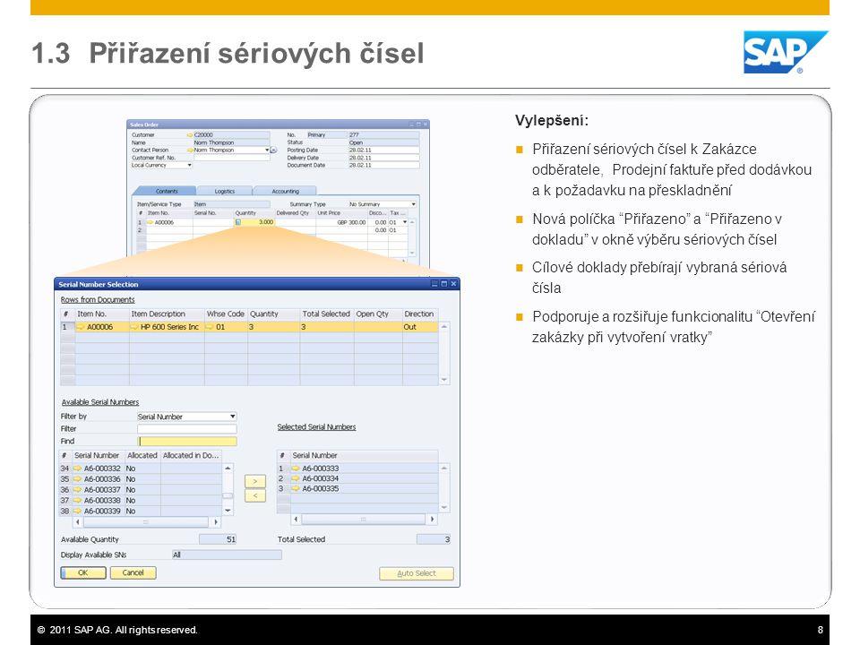©2011 SAP AG. All rights reserved.8 1.3 Přiřazení sériových čísel Vylepšení:  Přiřazení sériových čísel k Zakázce odběratele, Prodejní faktuře před d