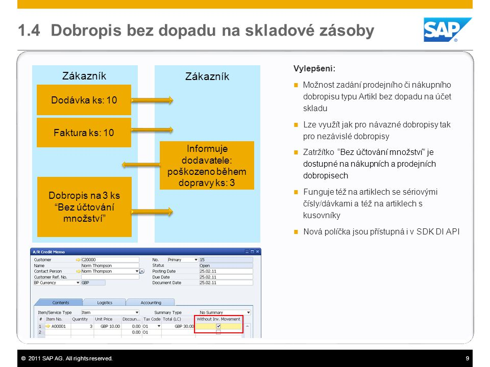 ©2011 SAP AG. All rights reserved.9 1.4 Dobropis bez dopadu na skladové zásoby Vylepšení:  Možnost zadání prodejního či nákupního dobropisu typu Arti