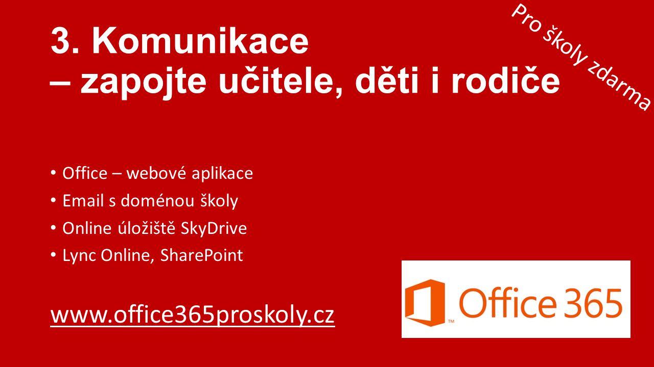 • Office – webové aplikace • Email s doménou školy • Online úložiště SkyDrive • Lync Online, SharePoint www.office365proskoly.cz 3. Komunikace – zapoj