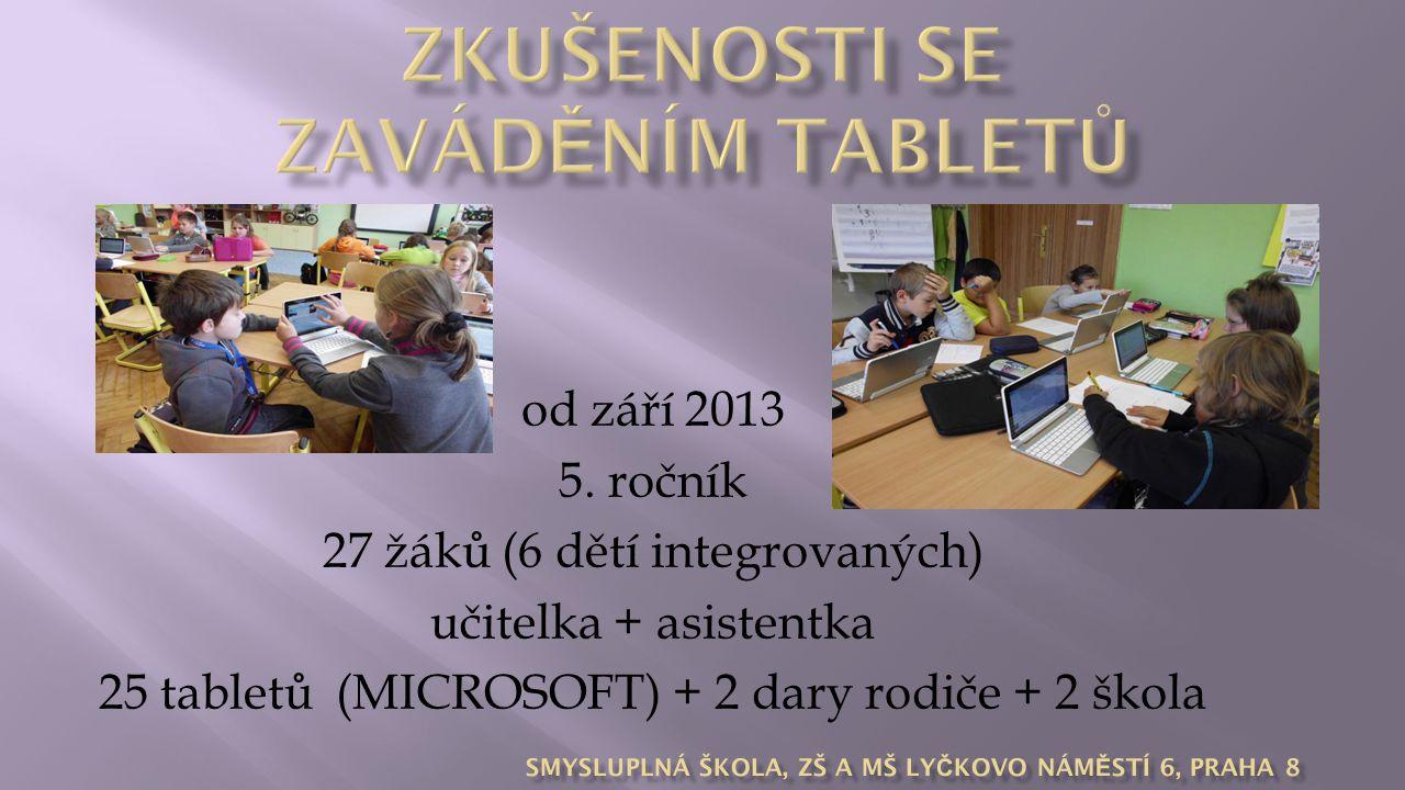 od září 2013 5. ročník 27 žáků (6 dětí integrovaných) učitelka + asistentka 25 tabletů (MICROSOFT) + 2 dary rodiče + 2 škola