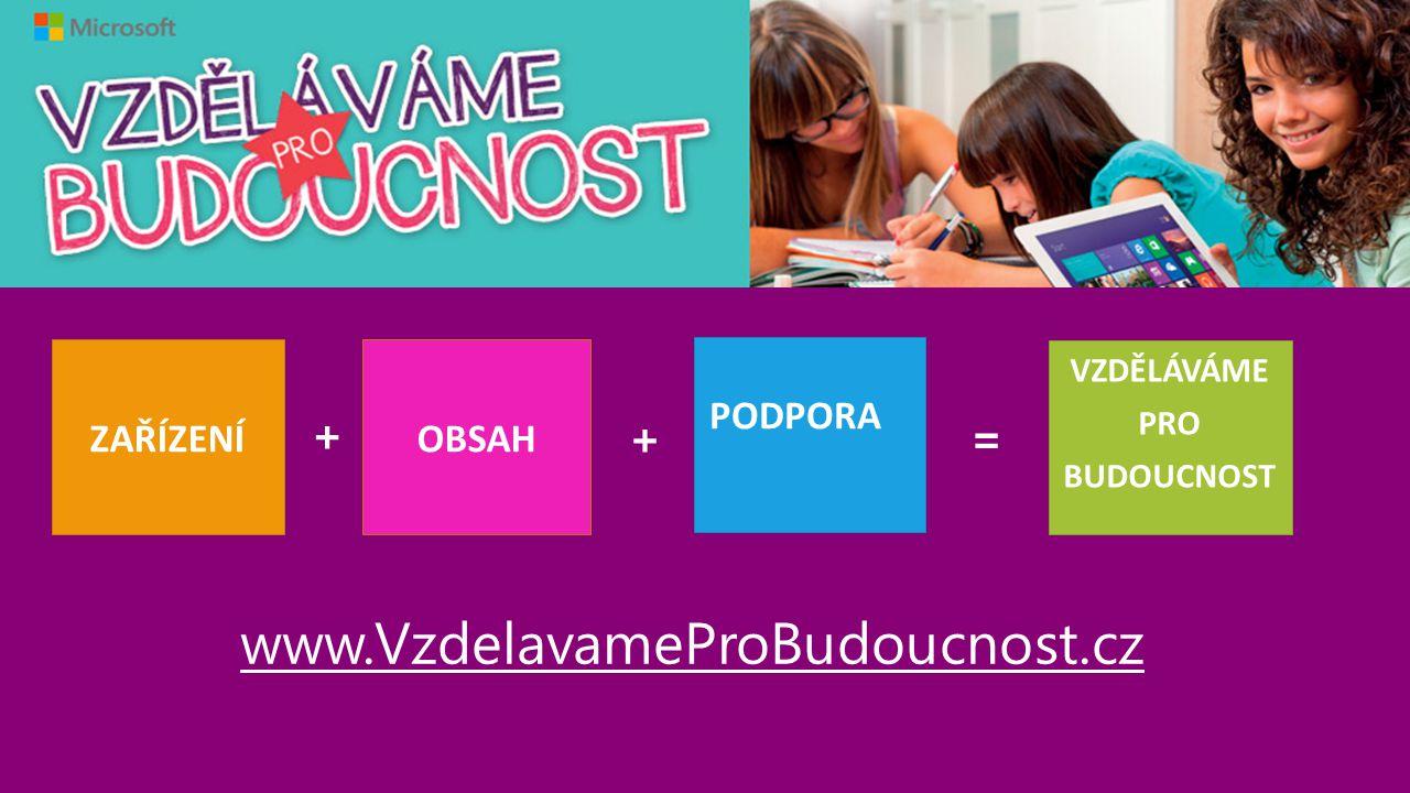 www.VzdelavameProBudoucnost.cz ZAŘÍZENÍ PODPORA VZDĚLÁVÁME PRO BUDOUCNOST OBSAH + =+