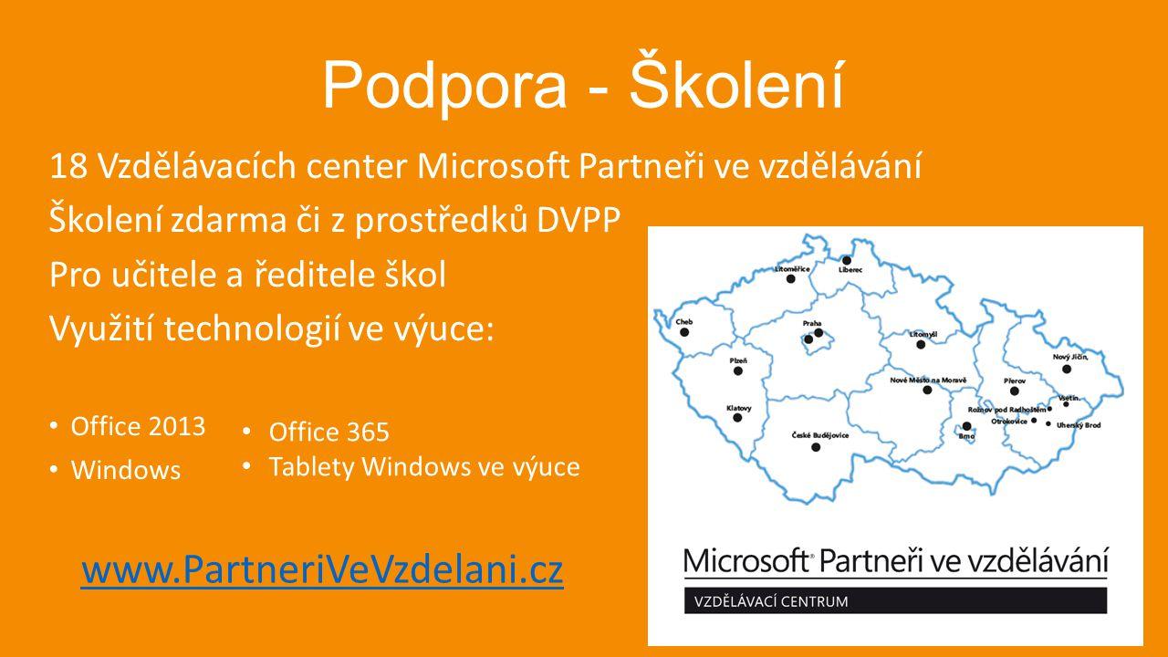 Podpora - Školení 18 Vzdělávacích center Microsoft Partneři ve vzdělávání Školení zdarma či z prostředků DVPP Pro učitele a ředitele škol Využití tech