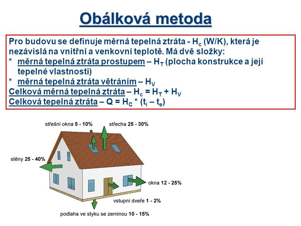 Obálková metoda Pro budovu se definuje měrná tepelná ztráta - H c (W/K), která je nezávislá na vnitřní a venkovní teplotě. Má dvě složky: *měrná tepel
