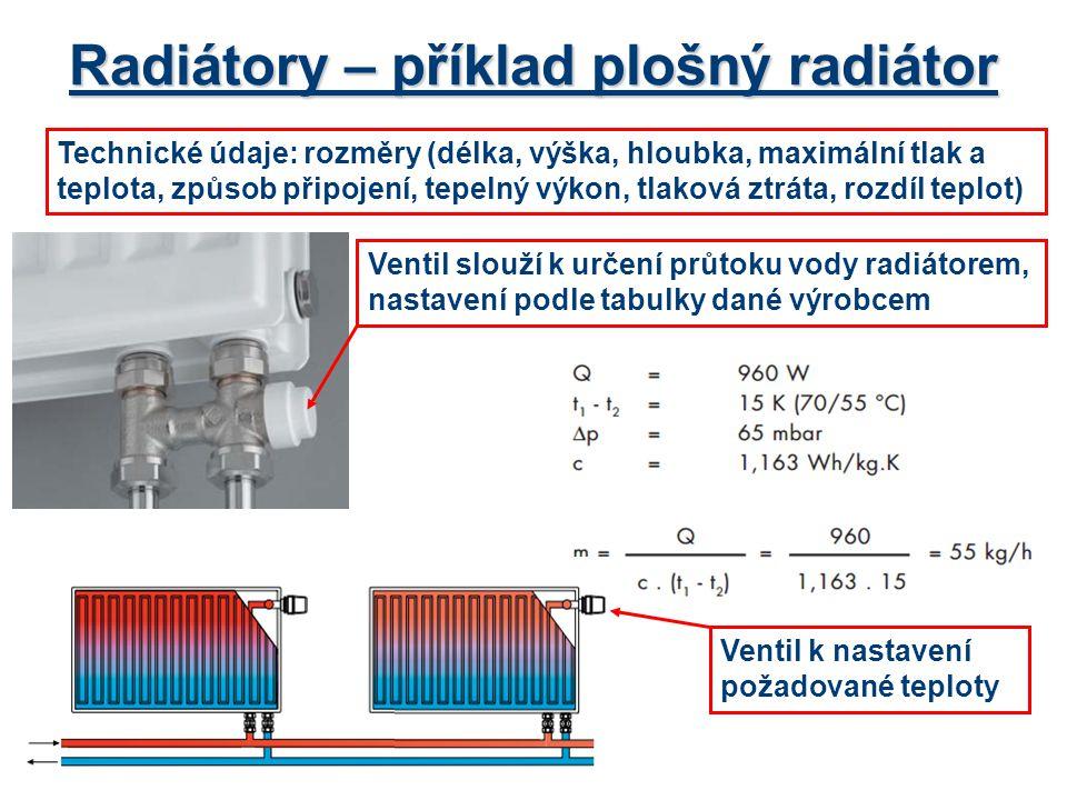 Radiátory – příklad plošný radiátor Technické údaje: rozměry (délka, výška, hloubka, maximální tlak a teplota, způsob připojení, tepelný výkon, tlakov