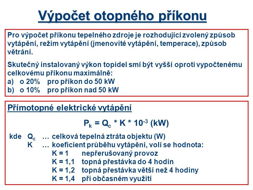 Výpočet otopného příkonu Pro výpočet příkonu tepelného zdroje je rozhodující zvolený způsob vytápění, režim vytápění (jmenovité vytápění, temperace),