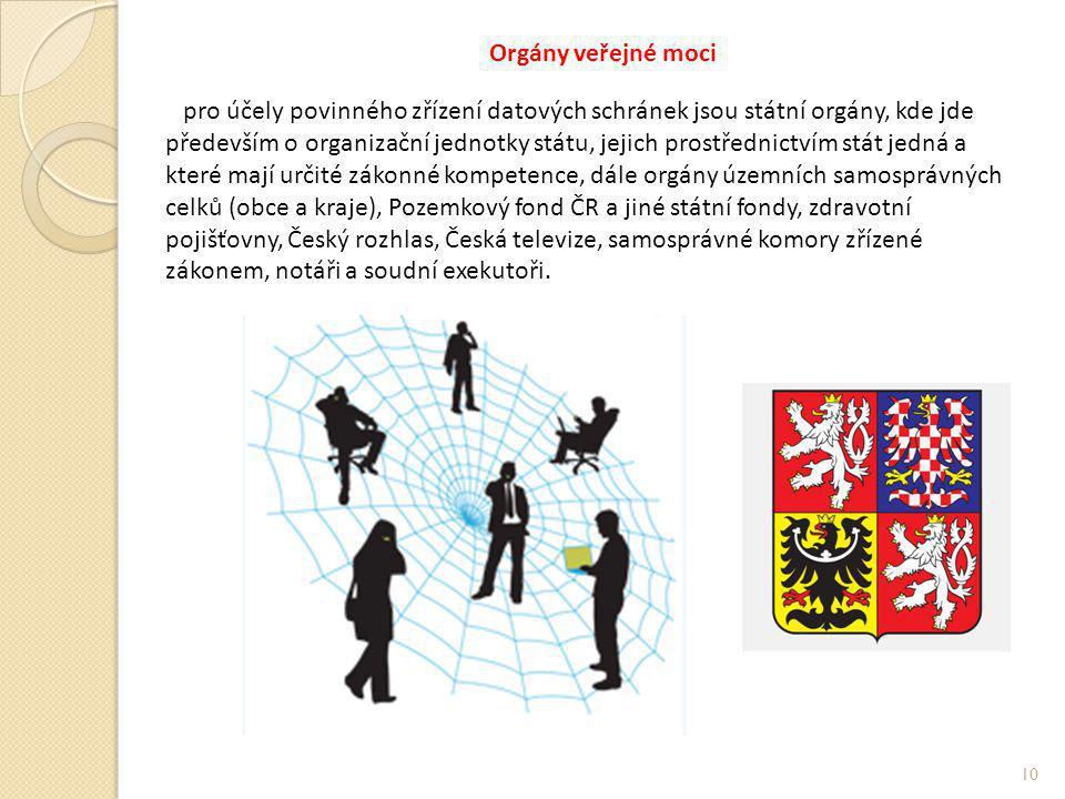 Orgány veřejné moci pro účely povinného zřízení datových schránek jsou státní orgány, kde jde především o organizační jednotky státu, jejich prostředn