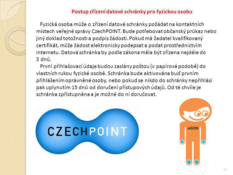 Postup zřízení datové schránky pro fyzickou osobu Fyzická osoba může o zřízení datové schránky požádat na kontaktních místech veřejné správy CzechPOINT.