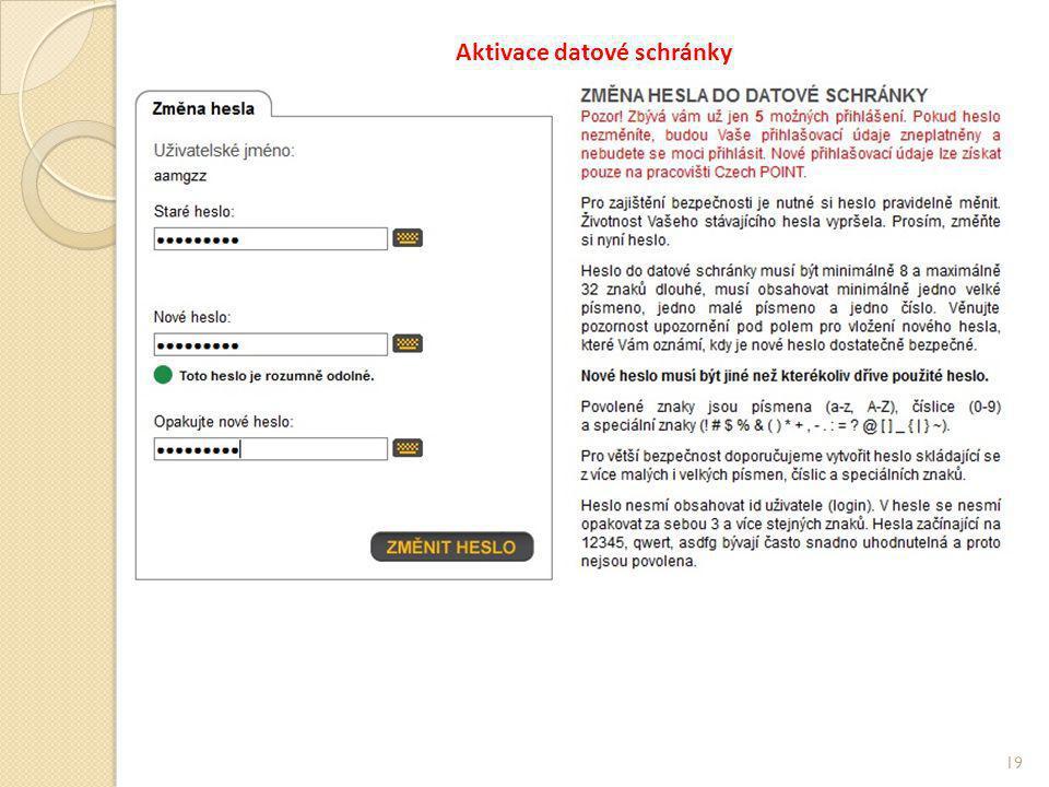 Aktivace datové schránky 19