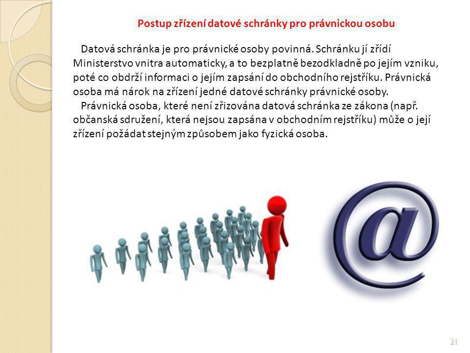Postup zřízení datové schránky pro právnickou osobu Datová schránka je pro právnické osoby povinná.