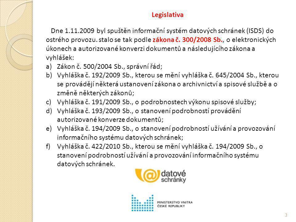 Legislativa Dne 1.11.2009 byl spuštěn informační systém datových schránek (ISDS) do ostrého provozu. stalo se tak podle zákona č. 300/2008 Sb., o elek