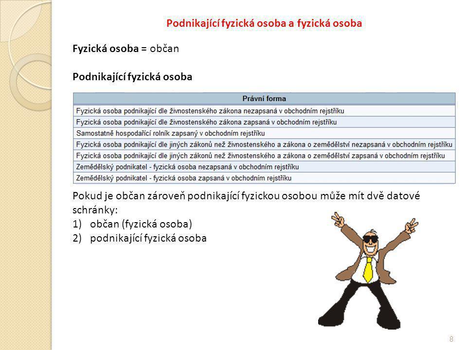 Podnikající fyzická osoba a fyzická osoba 8 Fyzická osoba = občan Podnikající fyzická osoba Pokud je občan zároveň podnikající fyzickou osobou může mít dvě datové schránky: 1)občan (fyzická osoba) 2)podnikající fyzická osoba