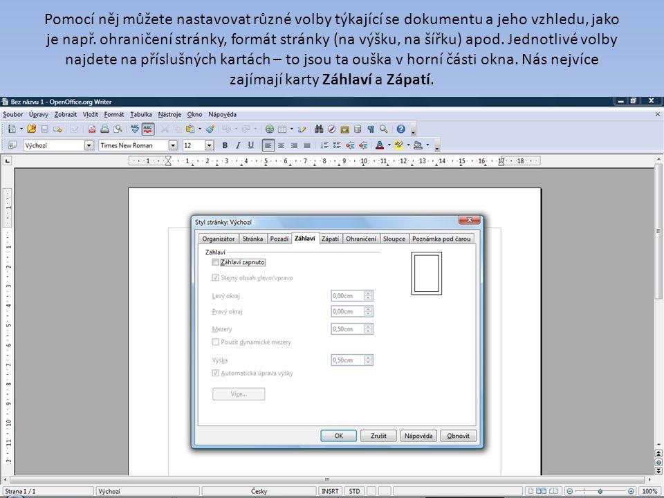 Pomocí něj můžete nastavovat různé volby týkající se dokumentu a jeho vzhledu, jako je např. ohraničení stránky, formát stránky (na výšku, na šířku) a